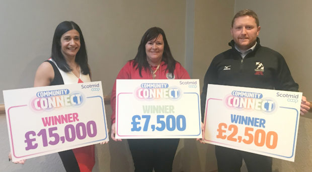 Home-Start Kincardine's Laura Lambert, Cromarty Community Rowing Club's Wanda Mackay and The Strathmore Rugby Club's Community Trust's Josh Gabriel-Clarke  celebrate receiving their Community Connect awards at the North Member AGM in Inverness