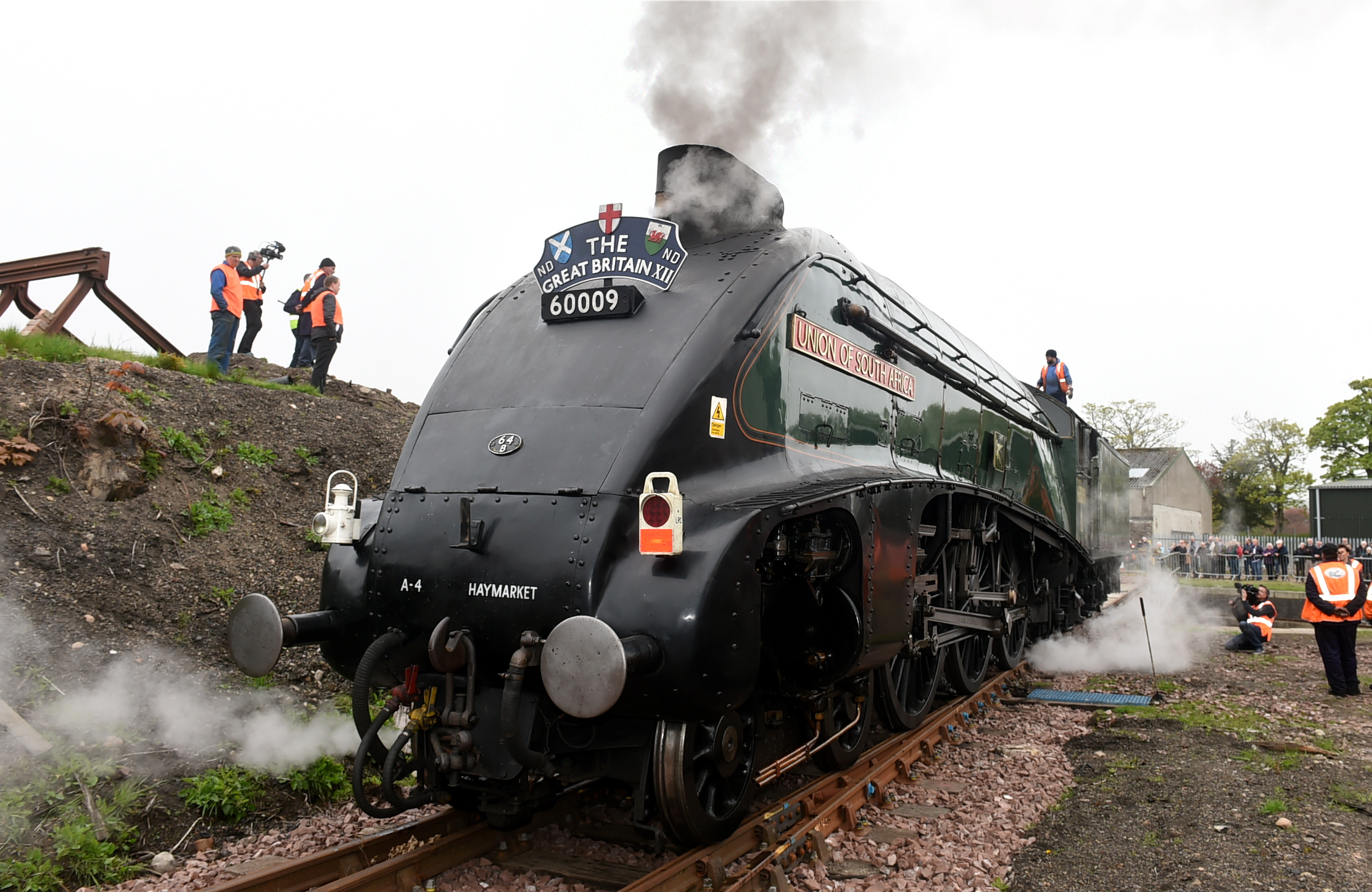 Classic steam train Union of South Africa returns to Aberdeen for first time since 1966 at Ferryhill Railway Turntable, Aberdeen. the train is met by the volunteers from Ferryhill Railway Heritage Trust. Pictures by Jim Irvine