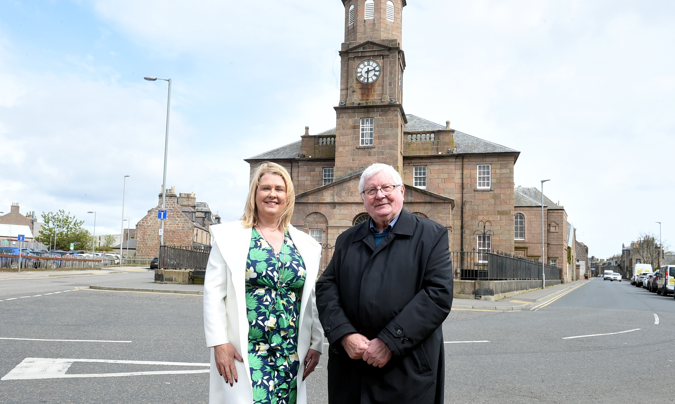 Buchan Area Committee vice-chairwoman Diane Beagrie and chairman Norman Smith at Old Parish Church, Peterhead.  Picture by Jim Irvine