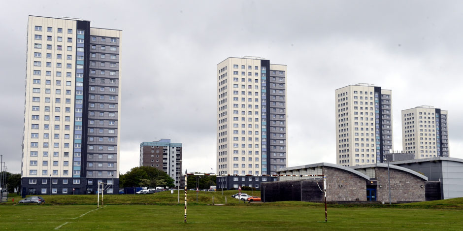 The four Seaton high rises, Seaton, Aberdeen.