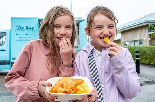 Pupils at Arduthie Primary School enjoyed free fish and chips.