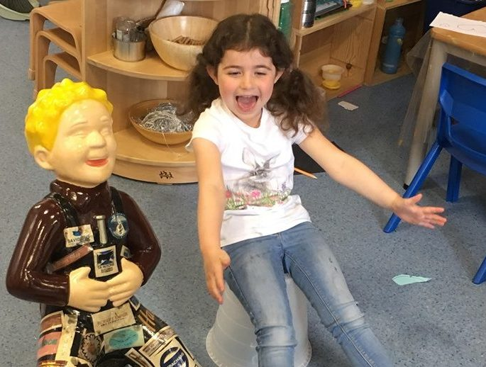 Ava Buchan with Peterhead Central Nursery's decorated Oor Wullie