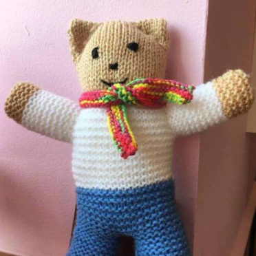 One of the trauma teddies that the public are being asked to knit, for Police Scotland.  FB pic.