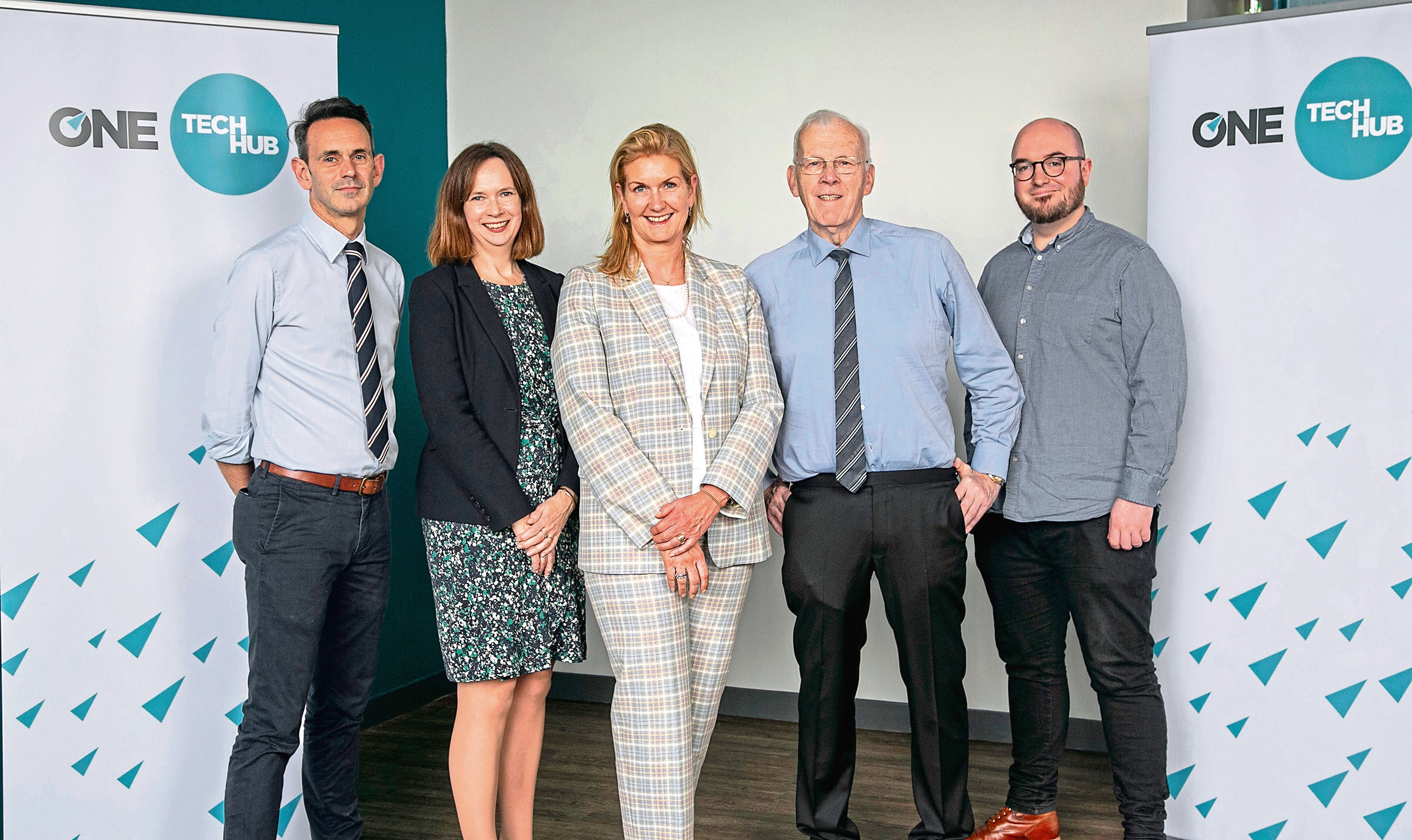 Michael Boniface, Head of ONE CodeBase, Maggie McGinlay, ONE Deputy CEO, Jennifer Craw, ONE CEO, Sir Ian Wood KT GBE, Chair of ONE and ONE D&E, Stephen Coleman OBE, CEO and co-founder of CodeBase.