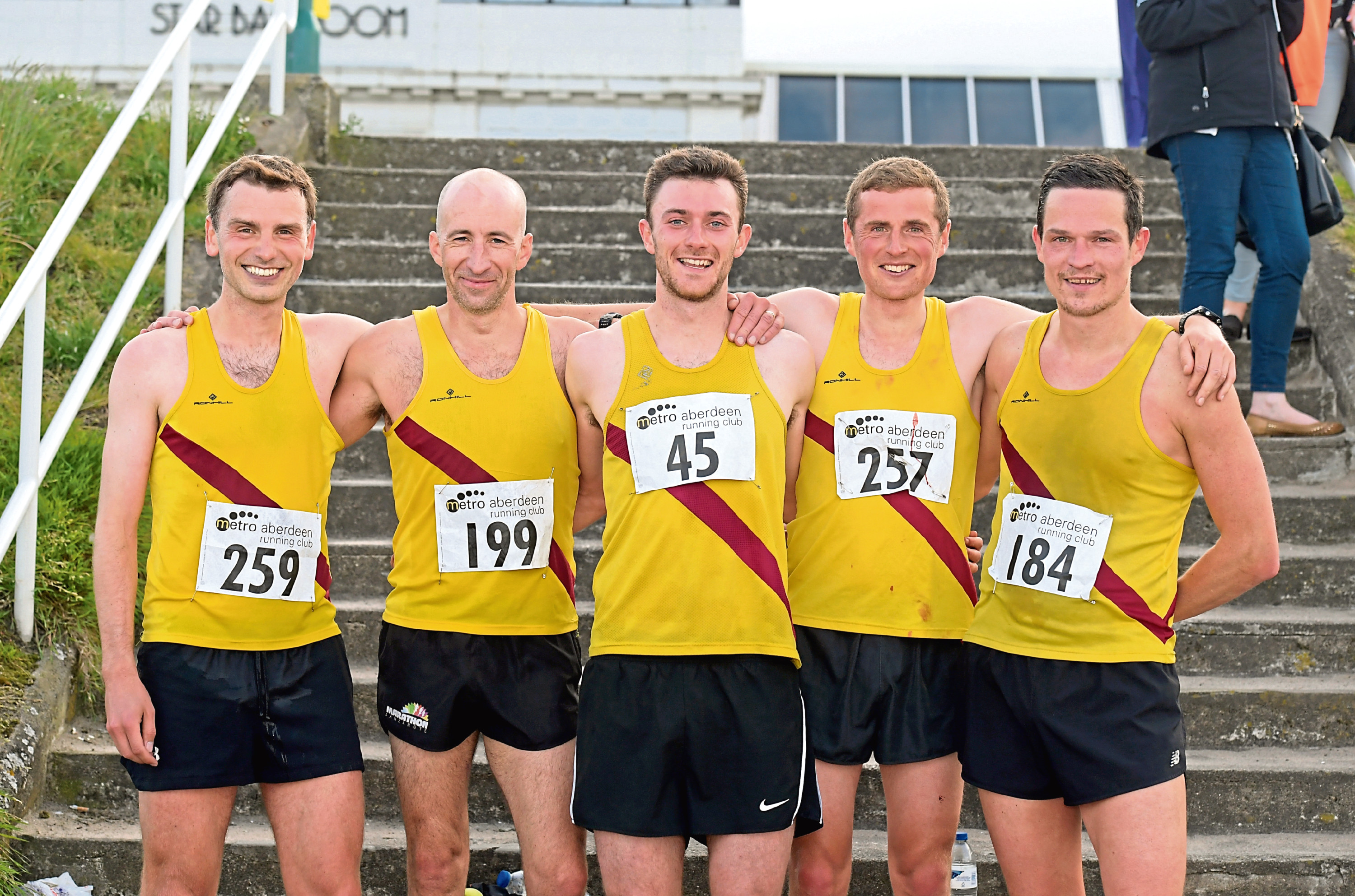 Metro Aberdeen Beach 10km. Inverness Harriers, from left, Michael O'Donnell, Donnie MacDonald, Sean Chalmers, John Newsom and Gordon Lennox.