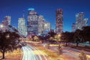 A view of the Downtown Skyline facing east from Allen Parkway houston