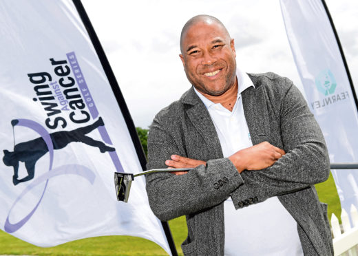 Newmachar Golf Course. Liverpool and England football legend John Barnes who is participating in a charity golf event. CR0010544 14/06/19 Picture by KATH FLANNERY