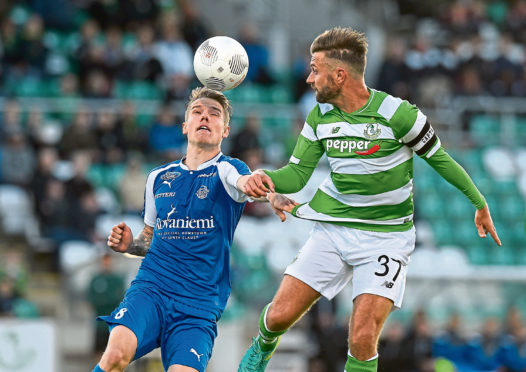Stephen McPhail of Shamrock Rovers in action against Robert Taylor of RoPS Rovaniemi during the UEFA Europa League First Qualifying Round 1st Leg game between Shamrock Rovers and RoPS Rovaniemi at Tallaght Stadium in Tallaght, Co Dublin. (Photo By David Maher/Sportsfile via Getty Images)