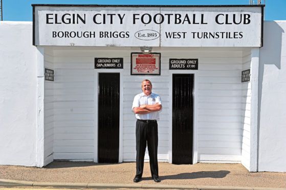 Elgin City's chairman, Graham Tatters,outside their  football stadium at Borough Briggs, Elgin.  Picture by Gordon Lennox 10/07/2013.