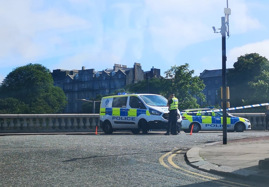 Police at Denburn Bridge. Picture by Cheryl Livingstone.