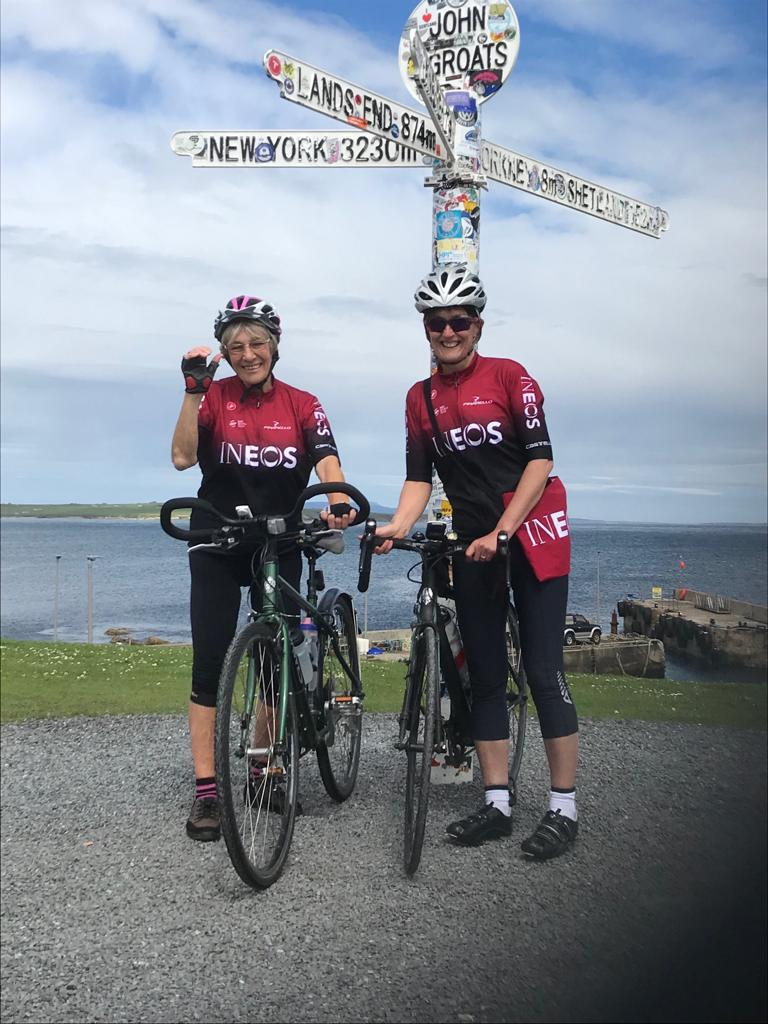 81-year-old Mavis Paterson with her friend Heather Curley, 55 at John O'Groats on Saturday.