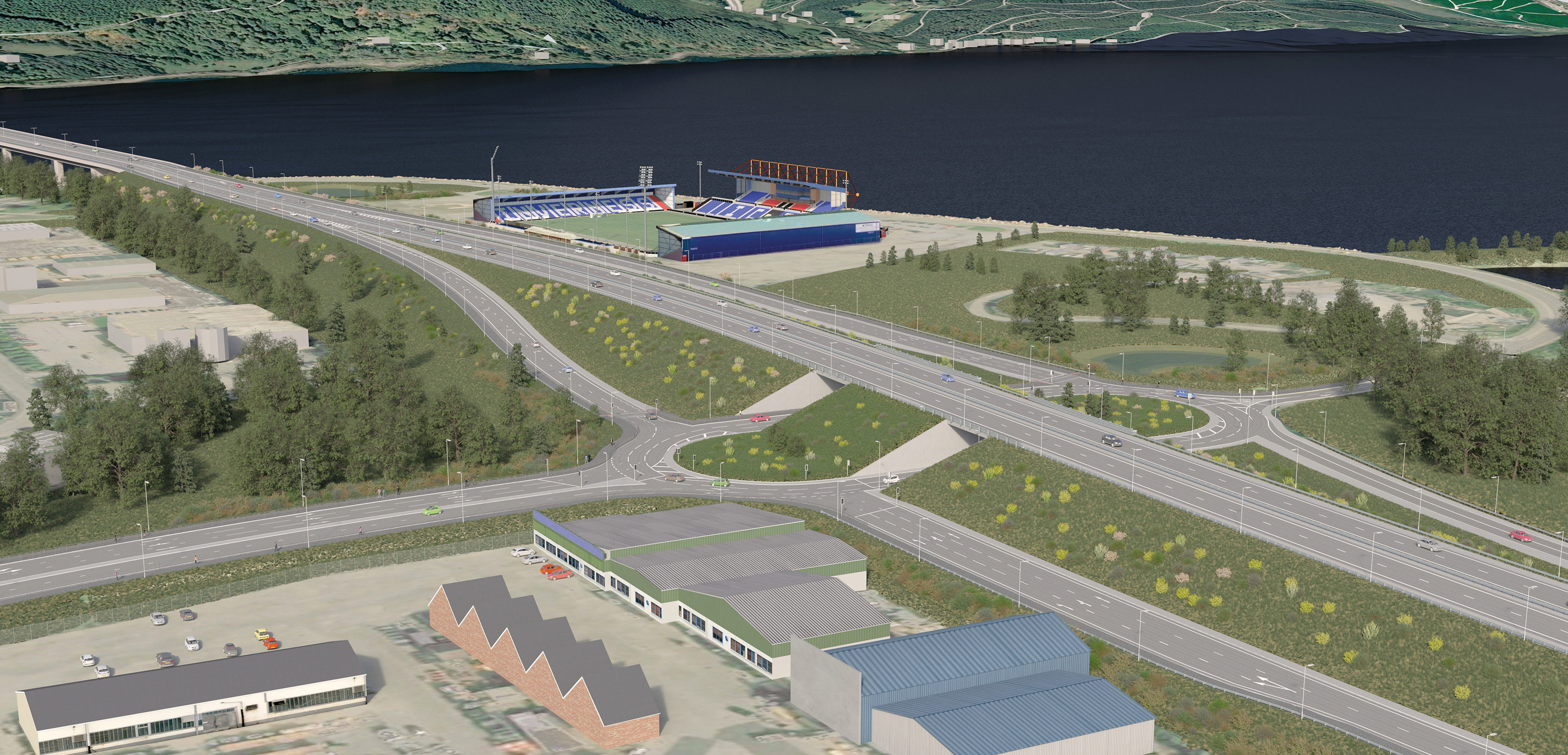A virtual reality image of the preferred option to address the traffic woes at Inverness' Longman roundabout.