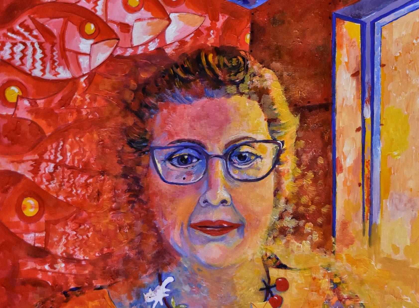 A self portrait by Johnshaven artist Alison Chandler