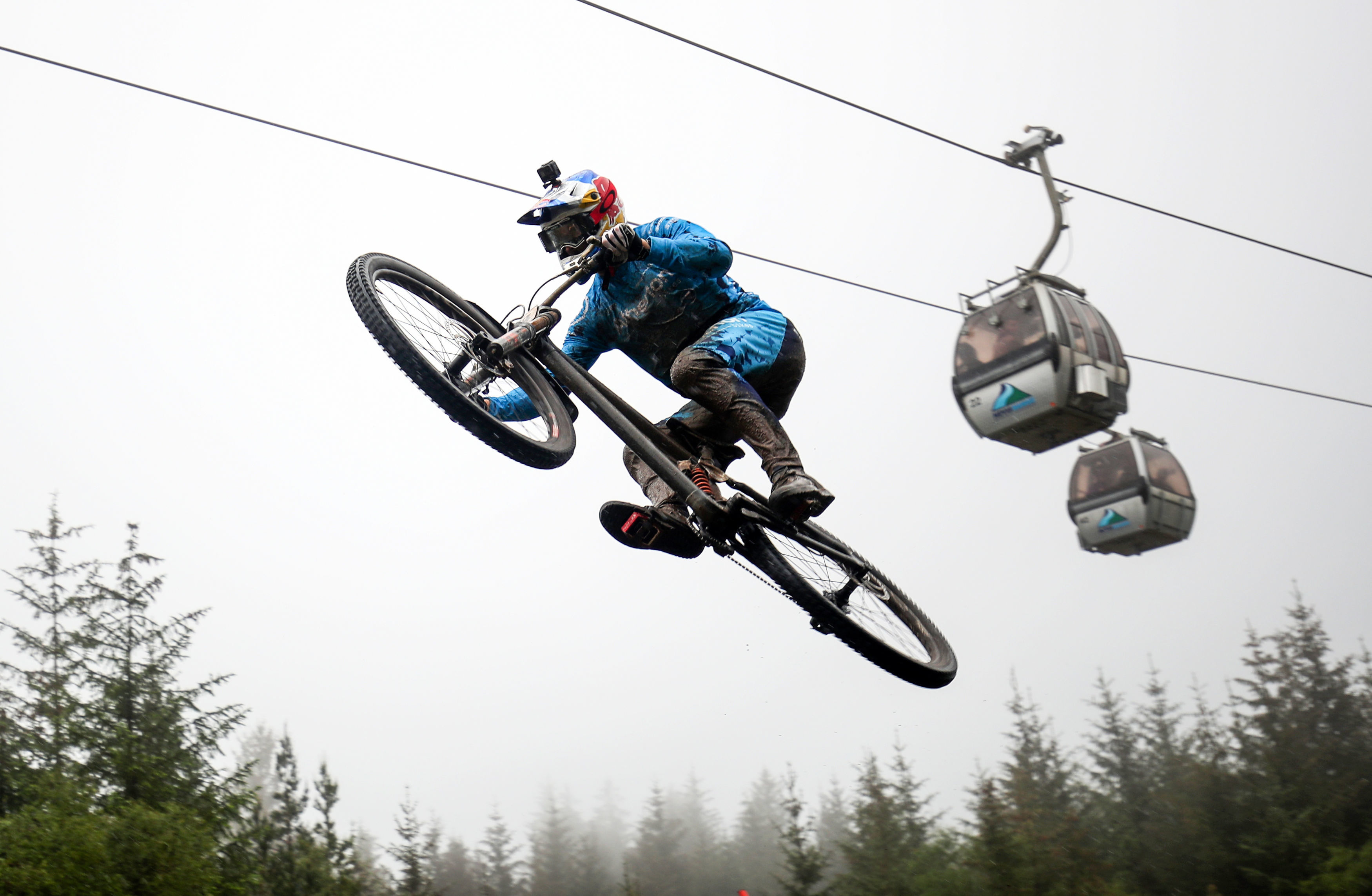 Great Britain's Gee Atherton during the UCI Mountain Bike World Cup at Fort William.