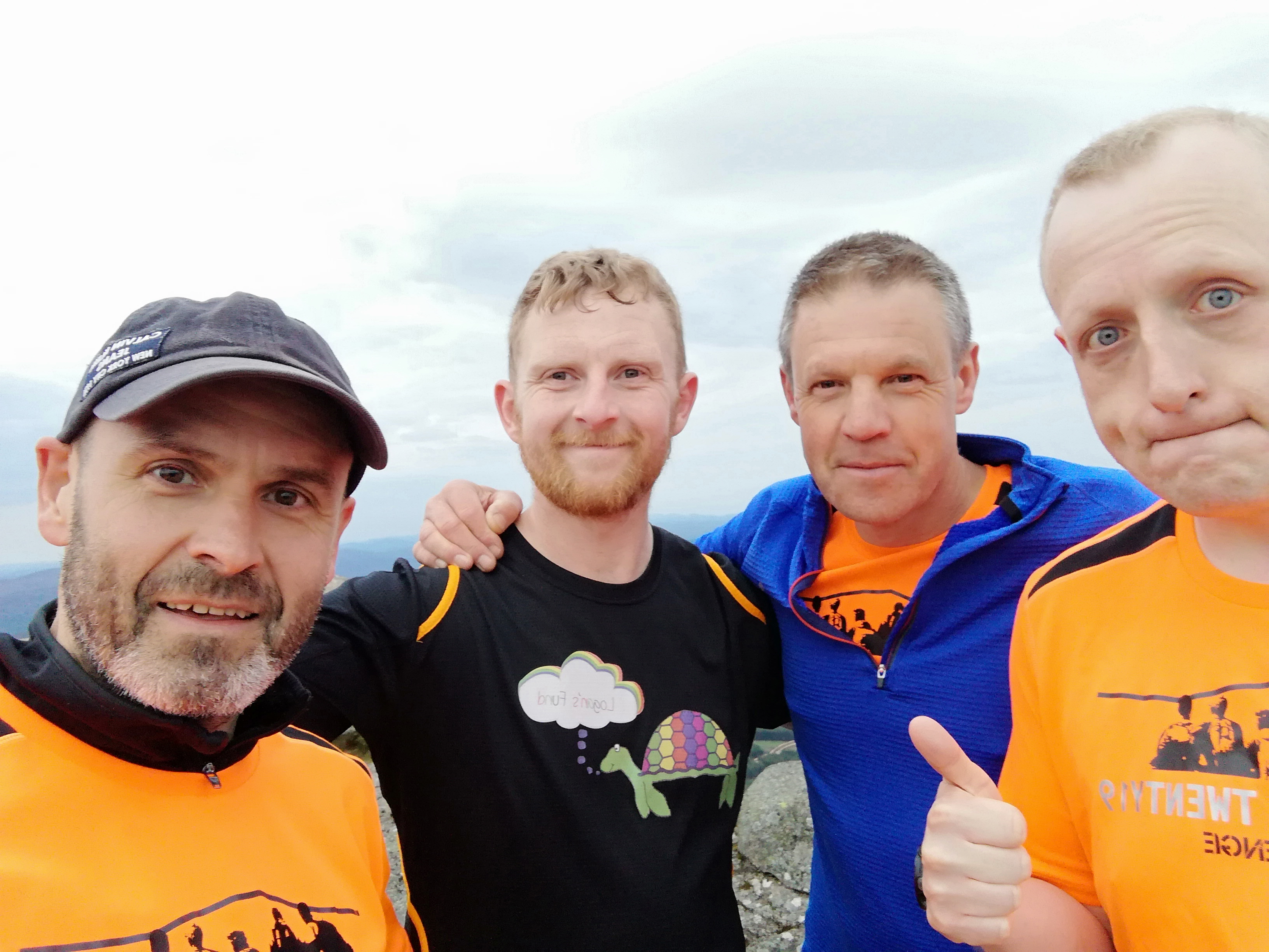 : Cameron Mackintosh, Gary Ewen, Peter Duggie, John Norman, all pictured, are going to be climbing Ben Rinnes with John Mccruden.