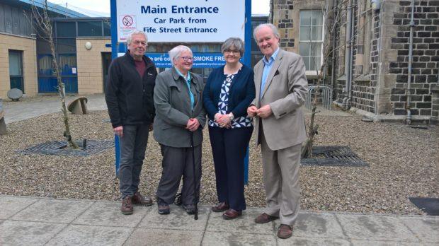 L-R: Peter Johnston (Friends of Chalmers Hospital), Dr Janet Anderson (Friends of Chalmers Hospital), Angie Wood, (Partnership Manager,  Aberdeenshire Health & Social Care Partnership), Stewart Stevenson MSP.