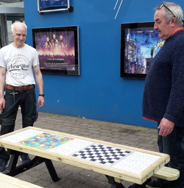The new board game bench in Stornoway.