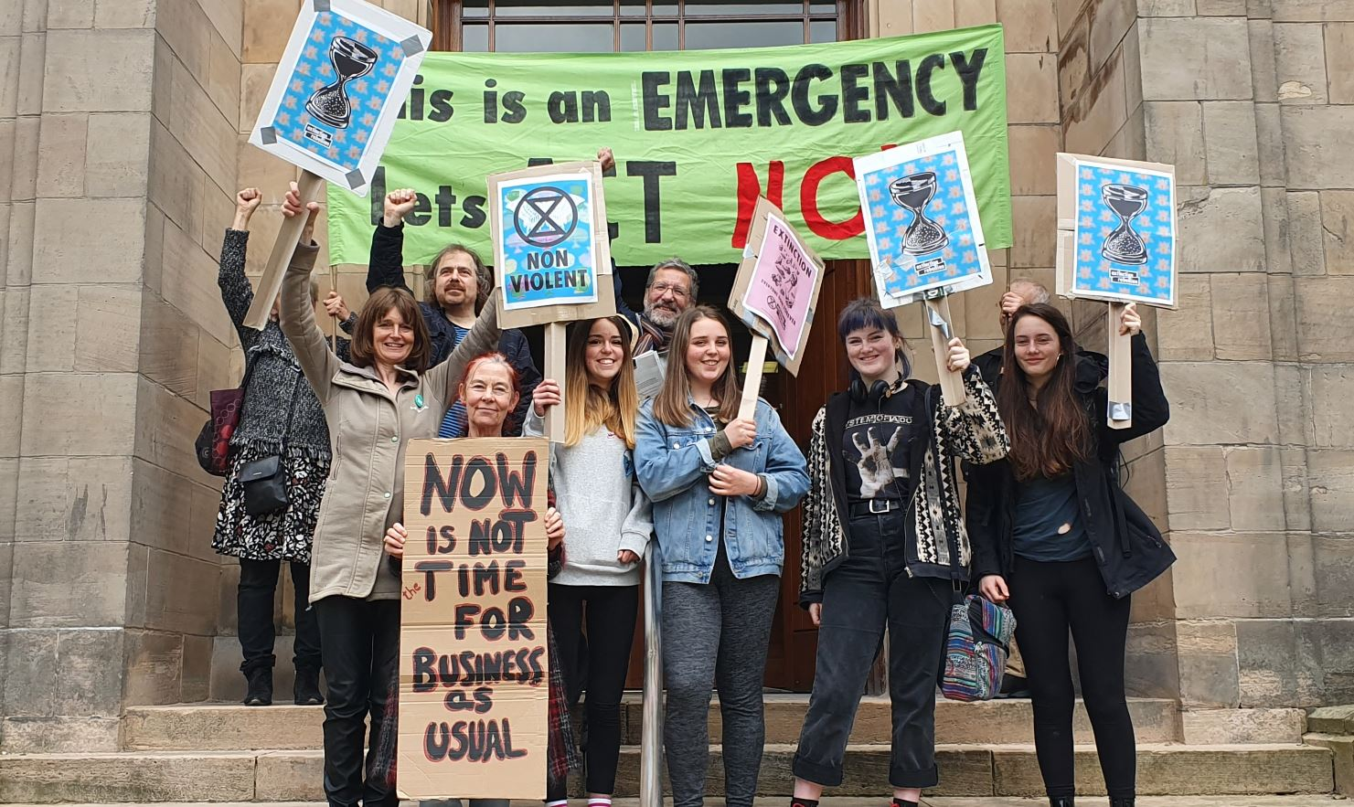 Campaigners gathered outside Moray Council's headquarters.