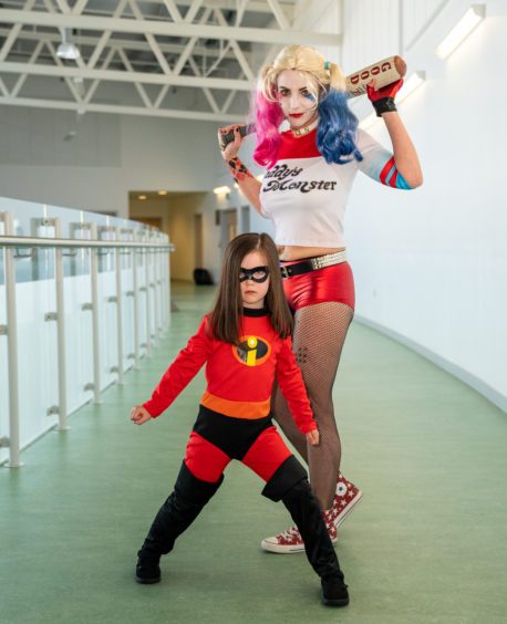 This is Mum, Harley Quinn, Zoe McArthur with Daughter, Avais, Violet of the Incredibles who won the Prize re Family.