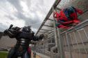 Spiderman battled enemies outside Moray College UHI.