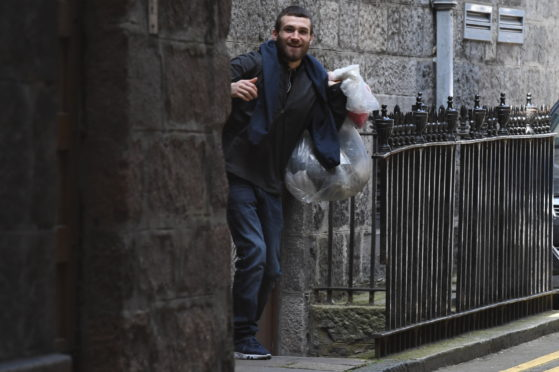 George Cowie leaving Aberdeen Sheriff Court in June 2019.