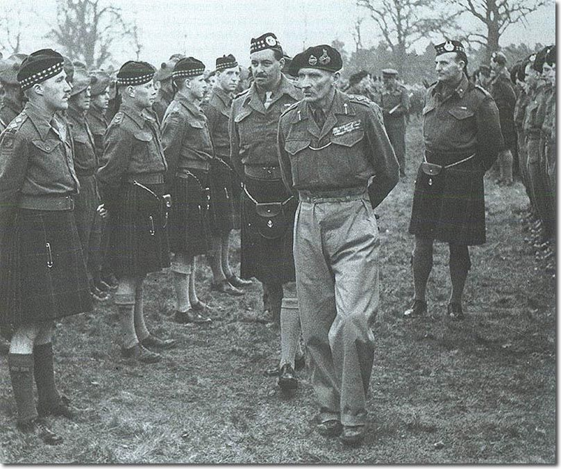 Field Marshal Montgomery inspects the 5th/7th Battalion Gordon Highlanders at Beaconsfield prior to the invasion of Normandy in June 1944