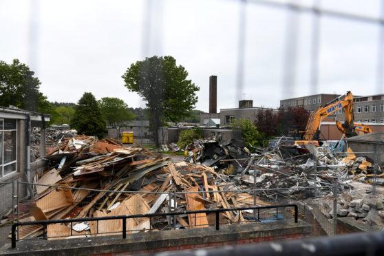 Demolition at Kincorth Academy