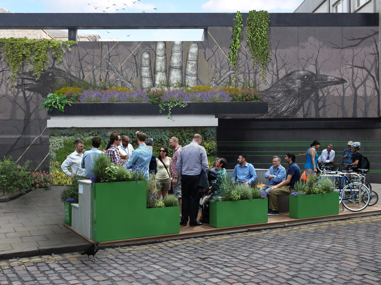 Artist impression of the 'parklet' at Huntly Street. Image by Callum Barrack at Polka