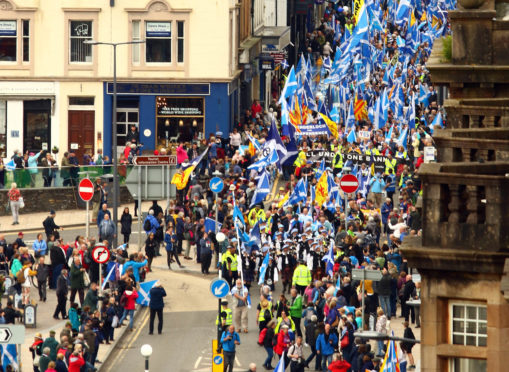 7,000 people attended the march and a rally in Mossfield stadium Oban.