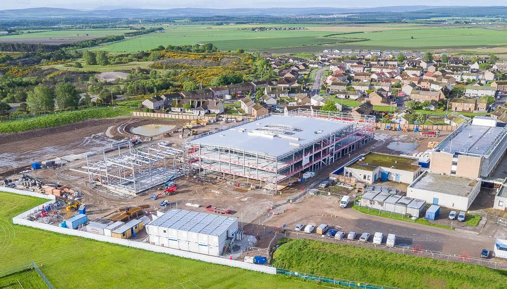 A still from the drone footage of the new Lossiemouth High School.