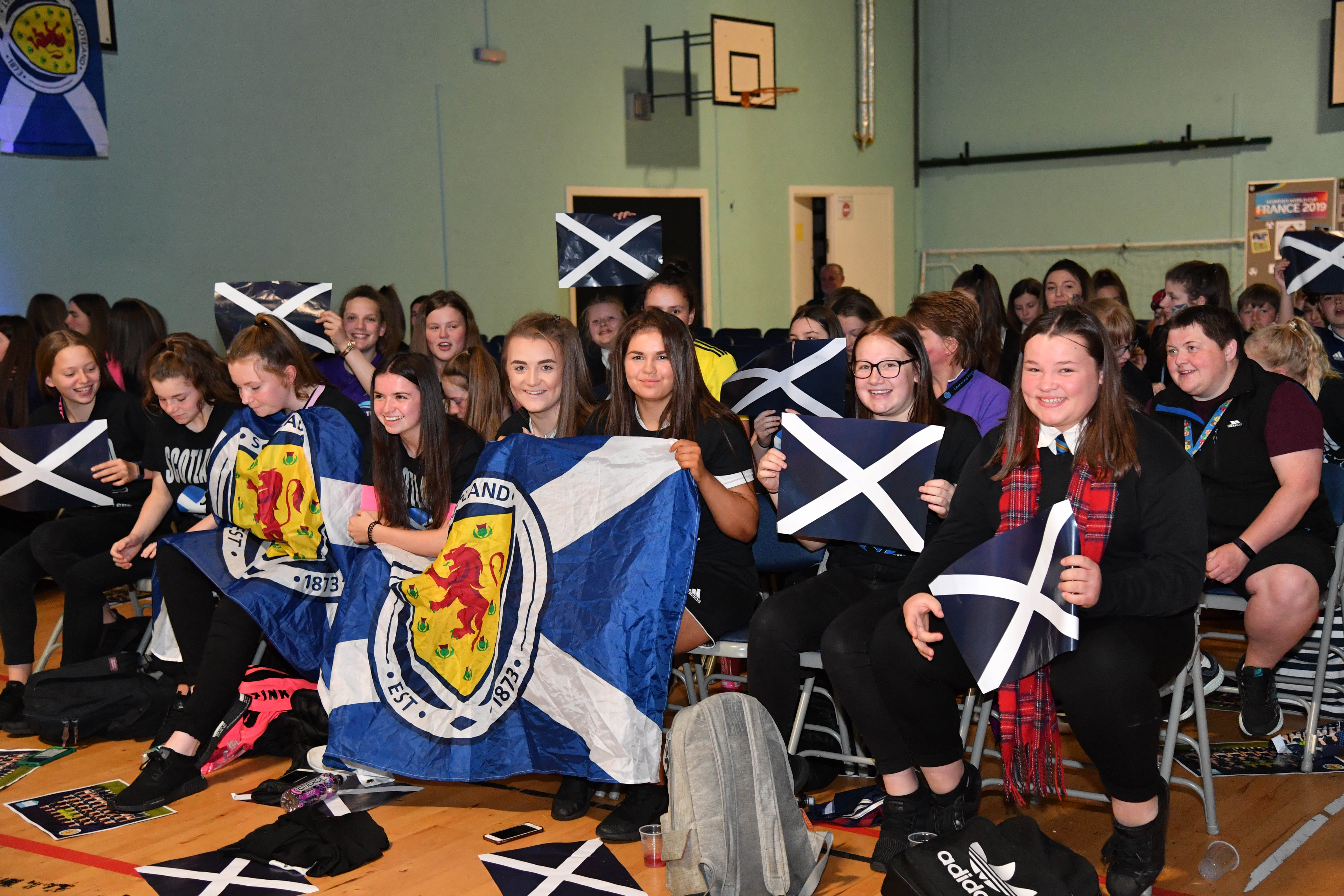 Mintlaw Academy pupils cheer on Kim Little and her Scotland team