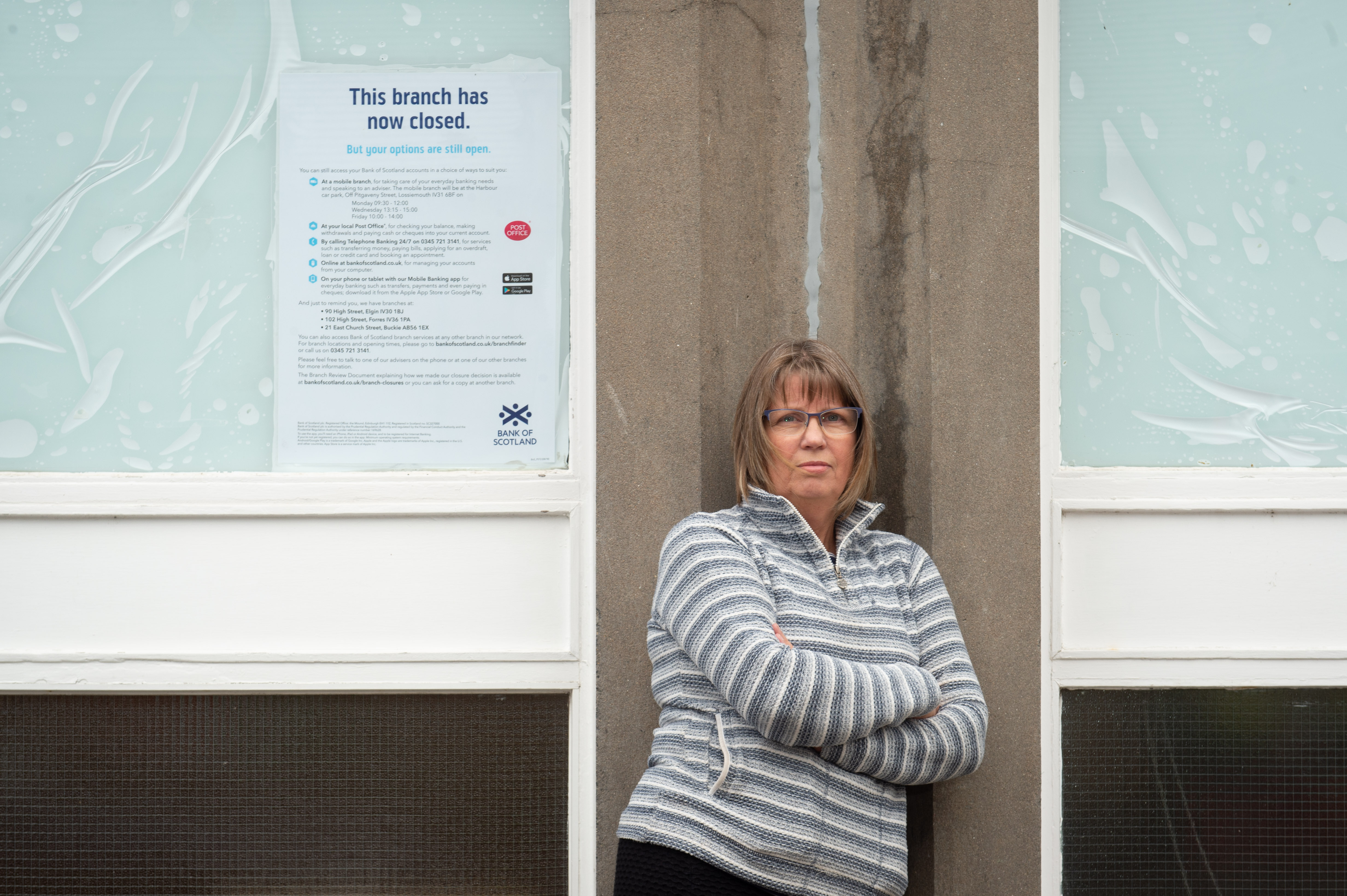 Denise Bedson, Secretary of Lossiemouth Business Association is pictured at the old RBS branch in Lossieouth, Moray.  Picture by Jason Hedges