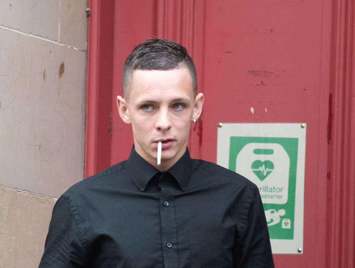 Andrew Clark is pictured outside of Elgin Sheriff Court in Moray today.