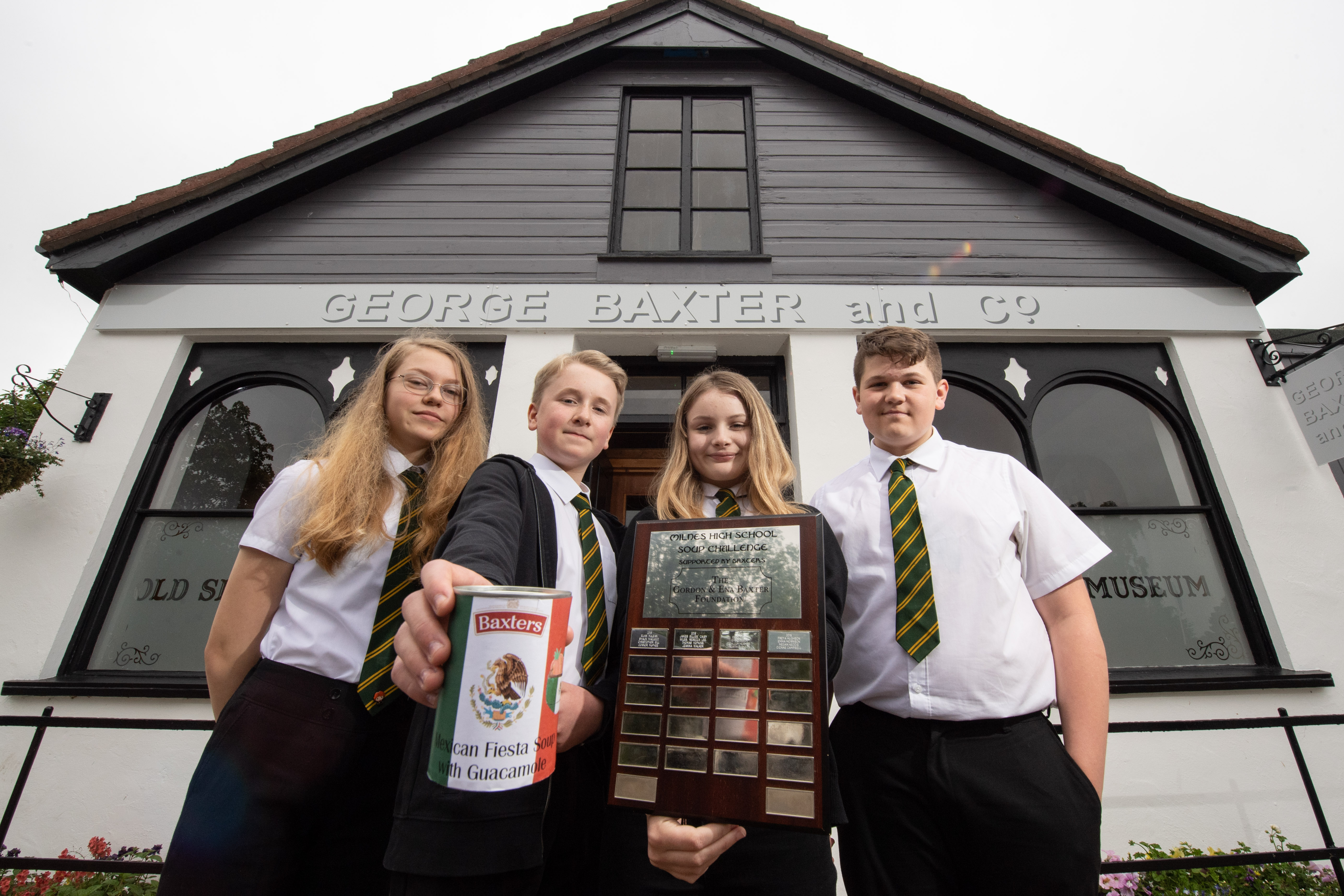 Milne's High School students have created a Mexican soup recipe that will be sold by Baxters. Pictured: Hannah Robertson, Matthew McLuckie, Emma Geddes, Tommy Ireland.