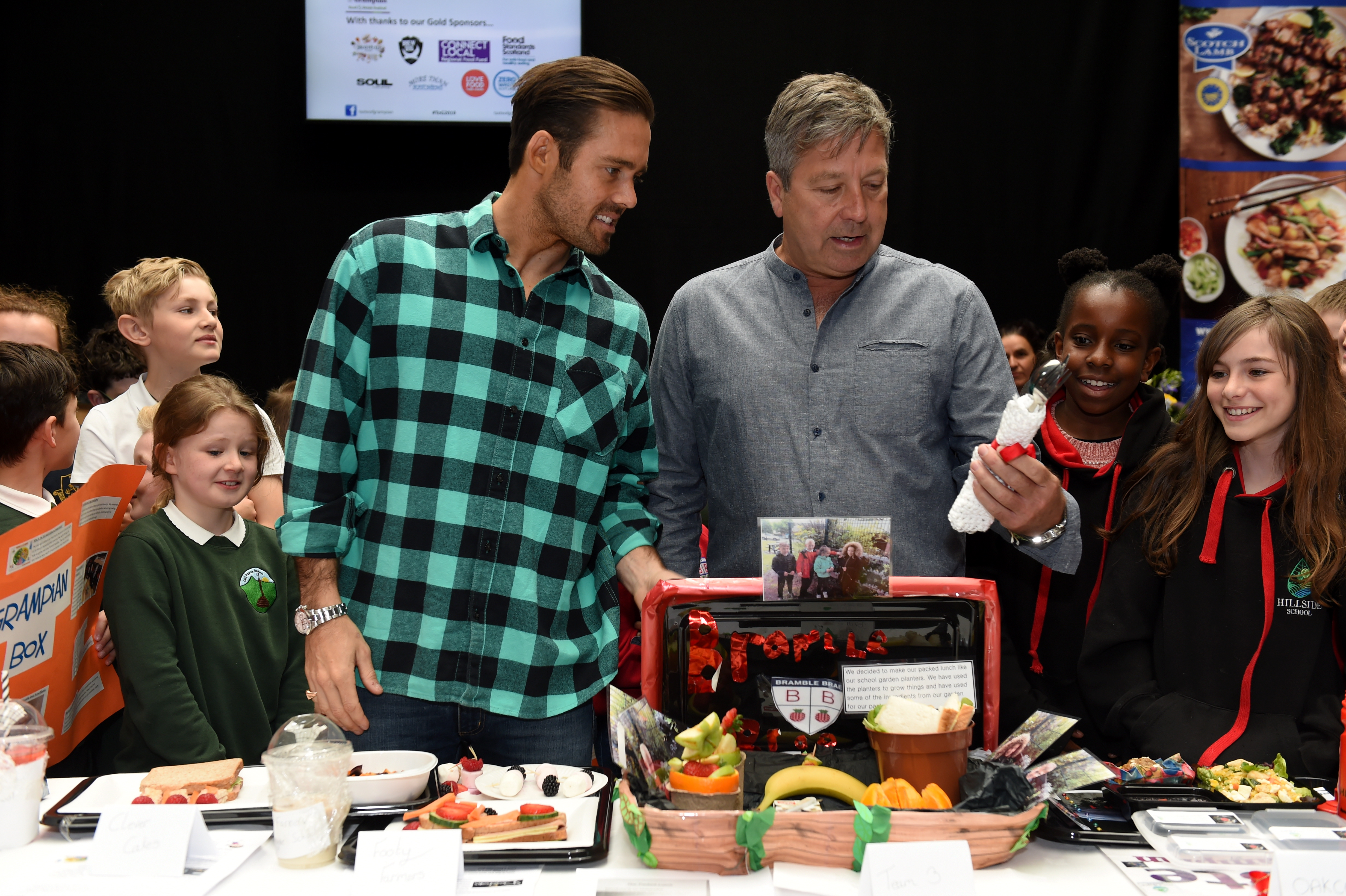 Spencer Matthews and John Torode at the Primary Schools Competition at Taste of Grampian.   Picture by Kenny Elrick