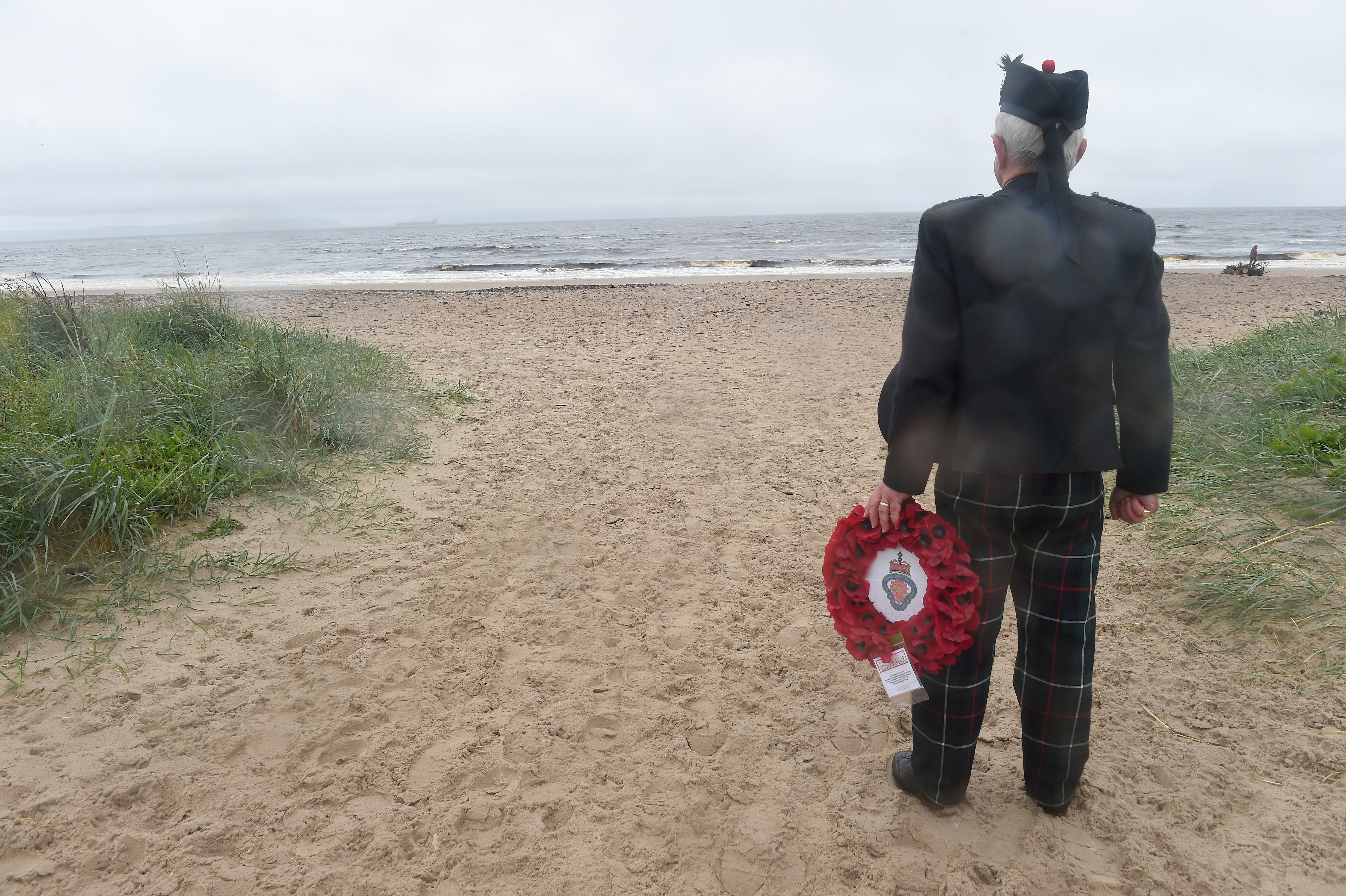 Bob Towns of the Nairn RBL at Nairn Beach. Pictures by Sandy McCook