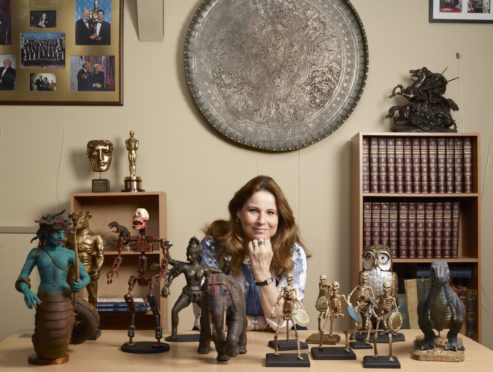 Vanessa Harryhausen with numerous models created by Ray Harryhausen (1920-2013).  Collection: The Ray and Diana Harryhausen Foundation (Charity No. SC001419) © The Ray and Diana Harryhausen Foundation. Photography: Sam Drake (National Galleries of Scotland)