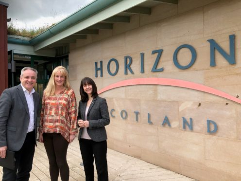 Richard Lochhead MSP with Rona Campbell and Donna Chisholm at Forres Enterprise Park.