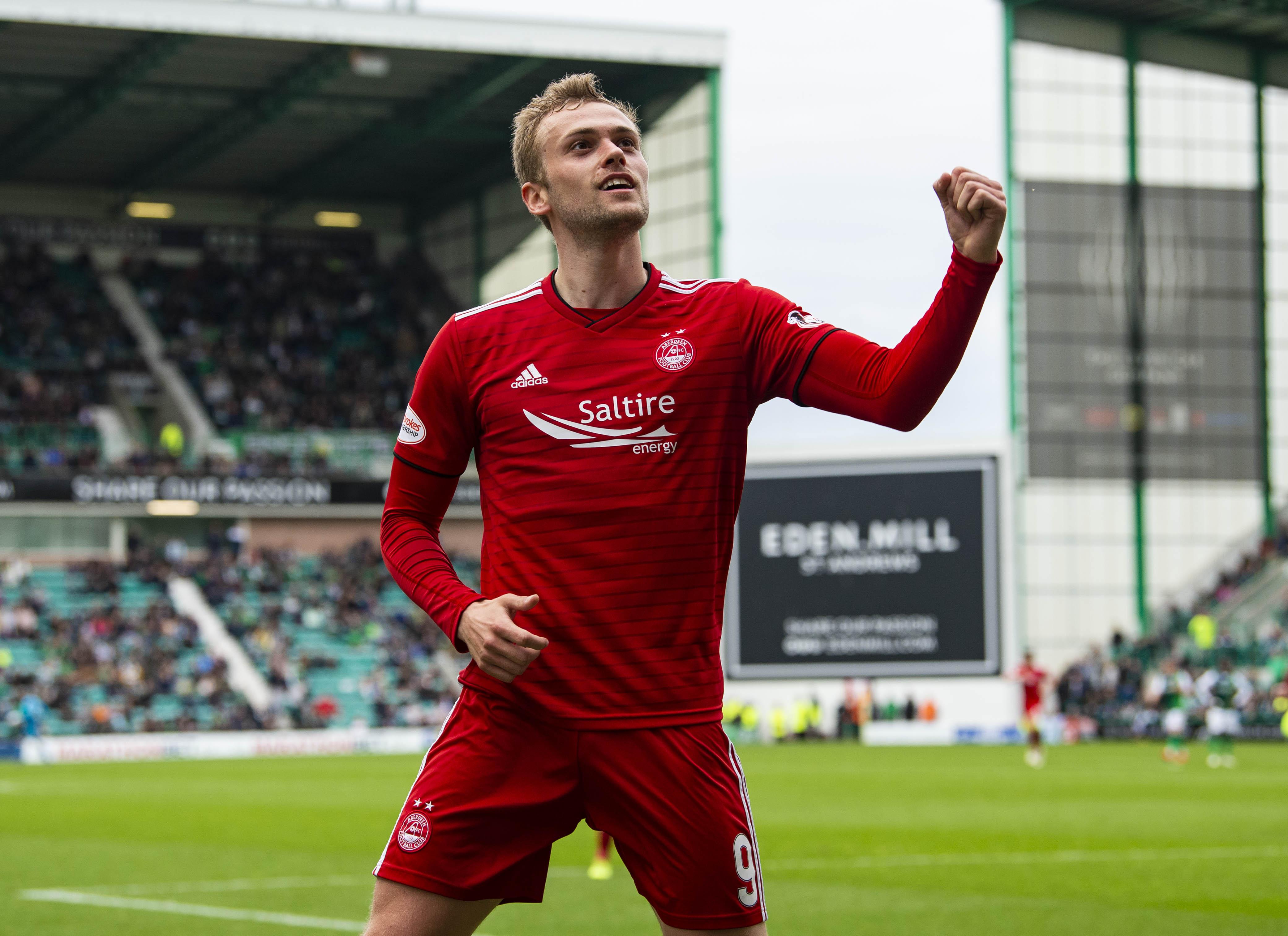James Wilson scored in his final game for Aberdeen against Hibernian.