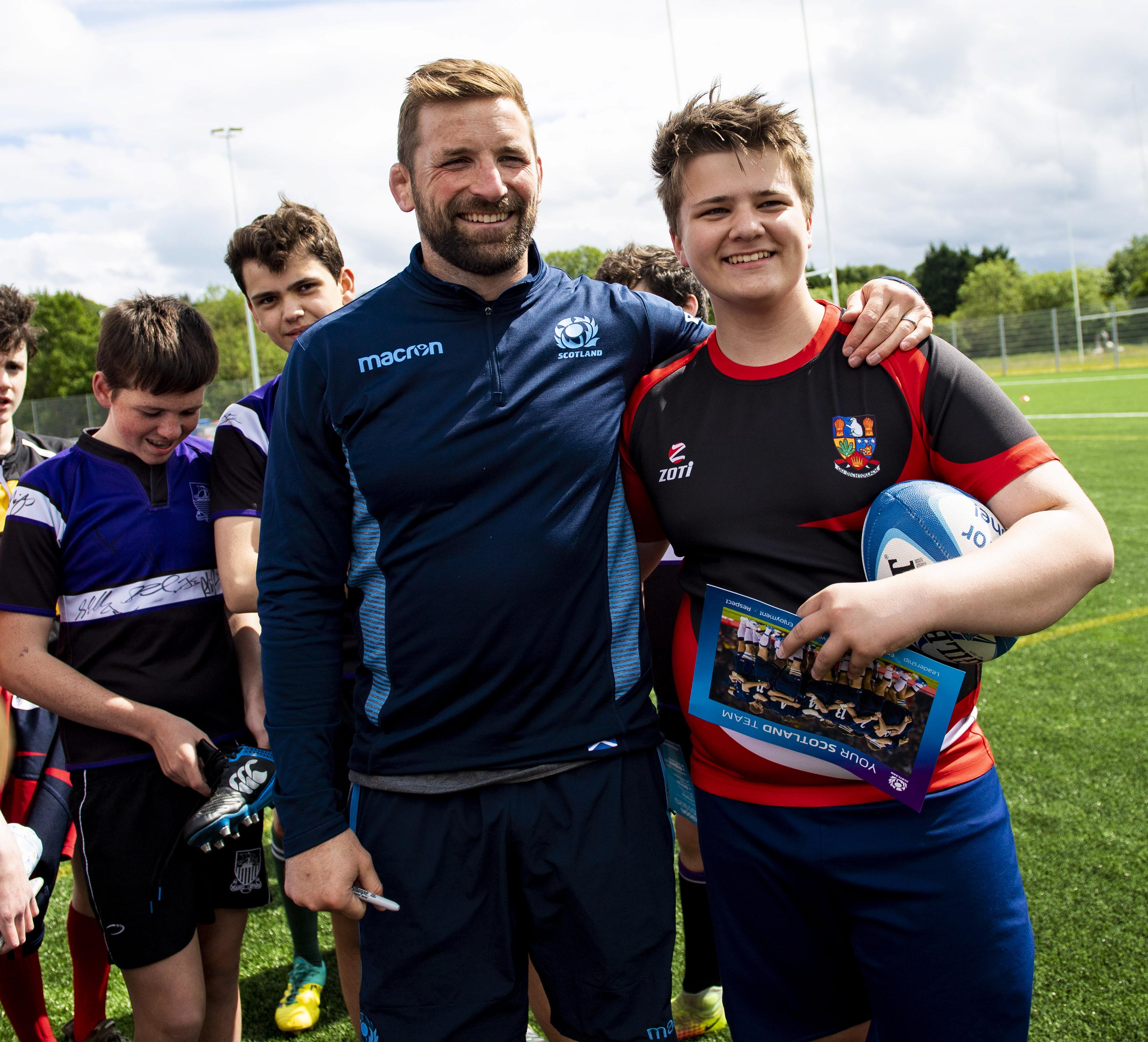 18/06/19 SCOTLAND TRAINING CAMP CANAL PARK - INVERNESS Scotland's John Barclay meets the fans