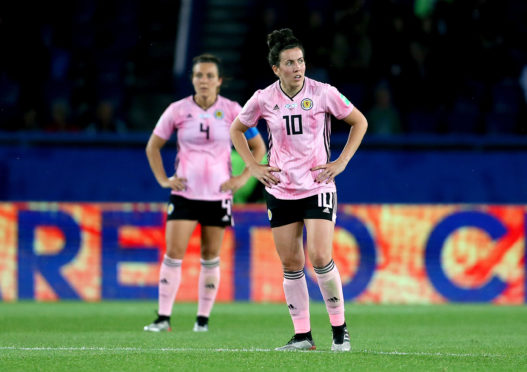 Scotland's Leanne Crichton appears dejected after Argentina's Florencia Bonsegundo scores her side's second goal of the game during the FIFA Women's World Cup, Group D match at the Parc des Princes, Paris.