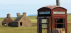 A red telephone box on the deserted island of Stroma. Pic: Alan Hendry.