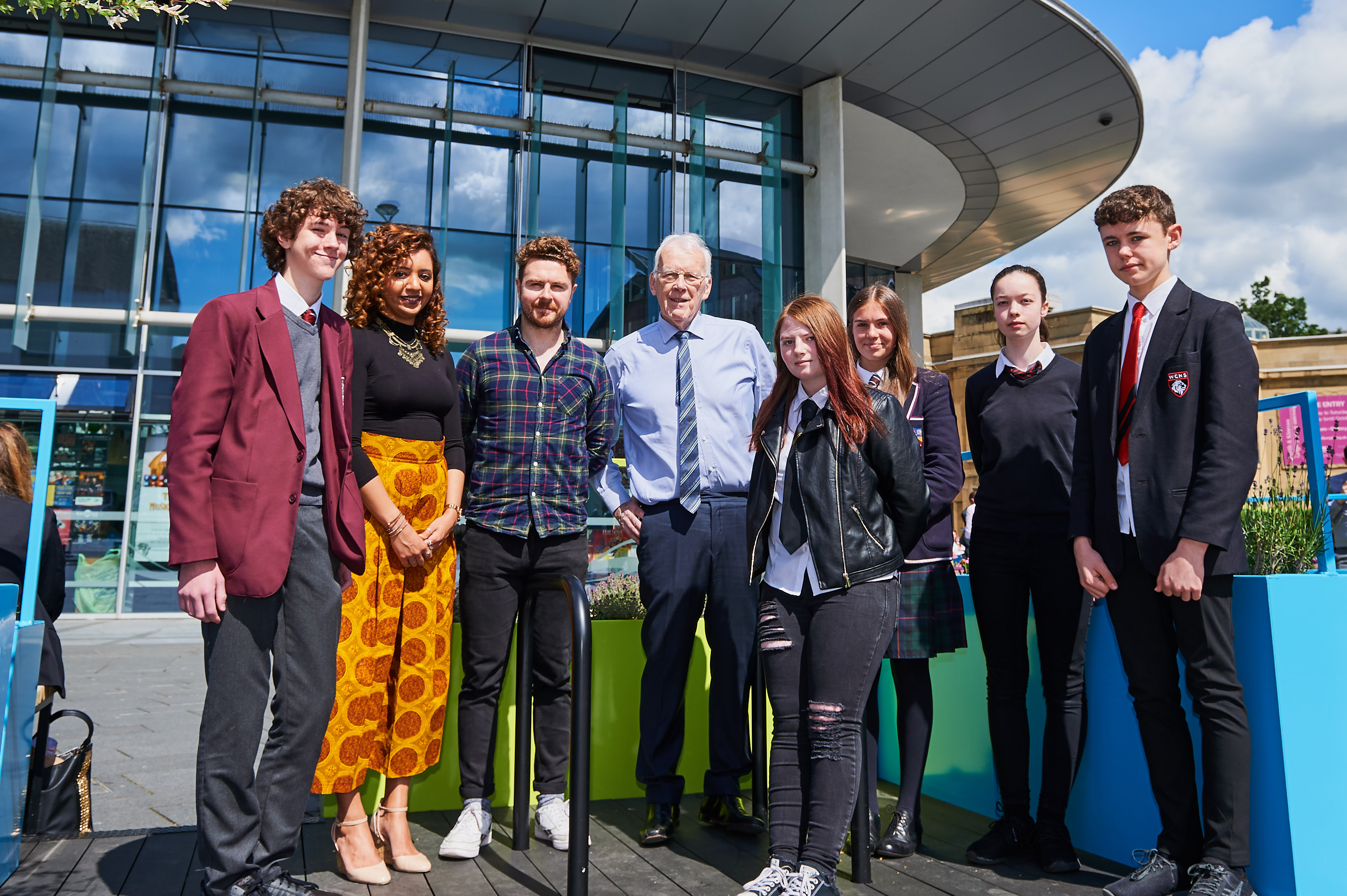 YPI 2019 Event at Perth Concert Hall.  Sir Ian Wood, centre, with main speakers Alan Mahon and Amal Azzudin with some of the school pupils from all over Scotland who attended.