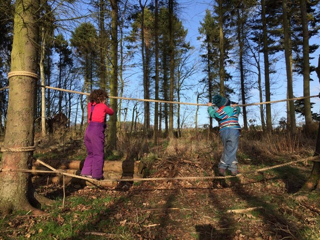 Youngsters enjoy outdoor play at Earthtime Forest School in Duffus, Moray