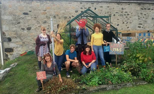 """The Deveron Projects team working on the """"Town is the Garden"""" project in Huntly"""
