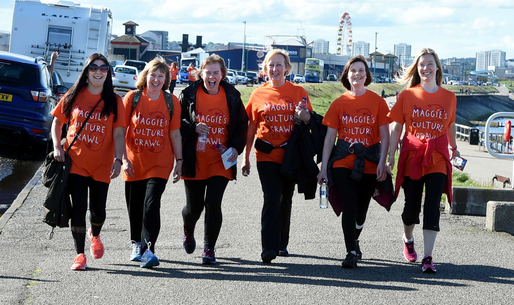 Maggie's Culture Crawl hits the streets of Aberdeen with walkers on the Beach Boulevard. Picture by Jim Irvine