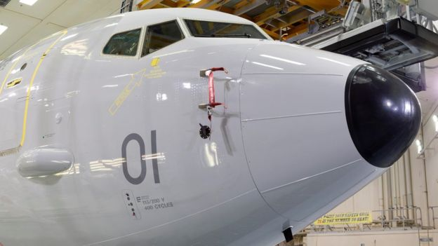 Livery has been put on the first of the new Poseidon planes that will arrive at RAF Lossiemouth next year