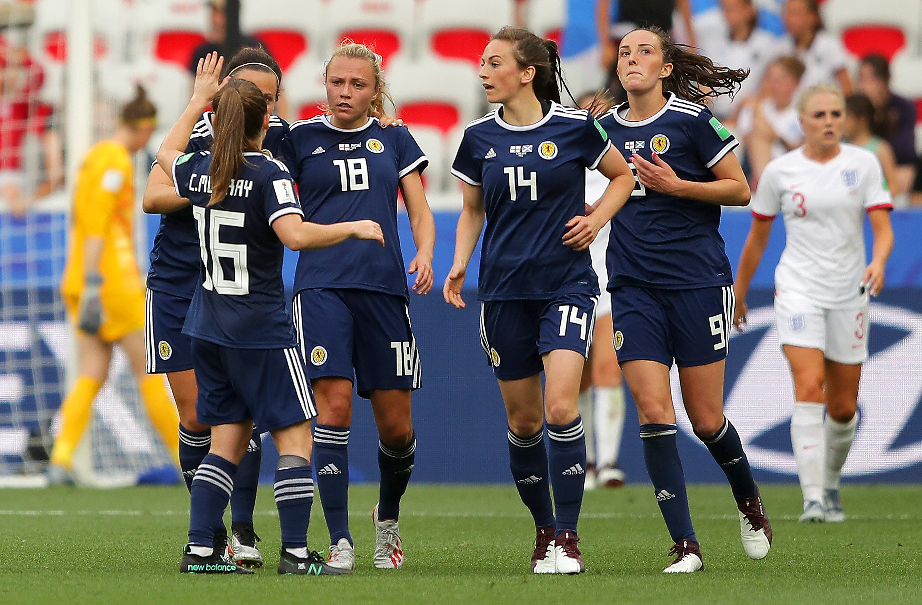 Claire Emslie of Scotland celebrates with teammates.