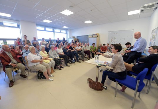 Residents at a ScotRail meeting in Mearns Community Campus in Laurencekirk earlier this year.