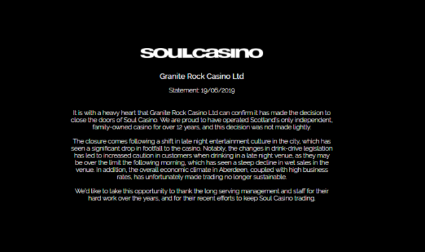 Soul Casino issued a statement